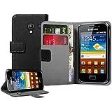 Schwarz Leder Aufklappbare Tasche Hülle für Samsung S7500 Galaxy Ace Plus - Flip Case Cover + 2 Displayschutzfolie