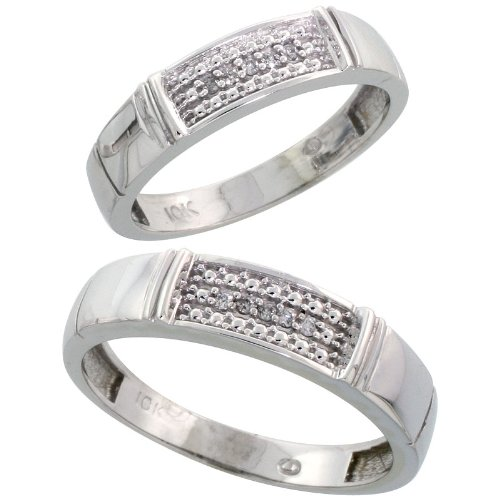 10k White Gold Diamond Wedding Rings Set for him 5 mm and her 4.5 mm 2-Piece 0.06 cttw Brilliant Cut, Ladies Size 8.5