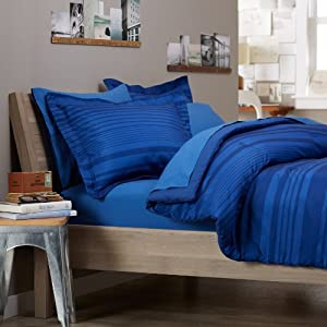 Pinzon 7-Piece Bed In A Bag - Full/Queen, Royal Blue Calvin Stripe