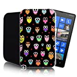 CUTE OWLS Pattern [BLACK] Nokia Lumia 820 (L) Shock Resistant Neoprene Mobile Phone Case, Cover, Pouch