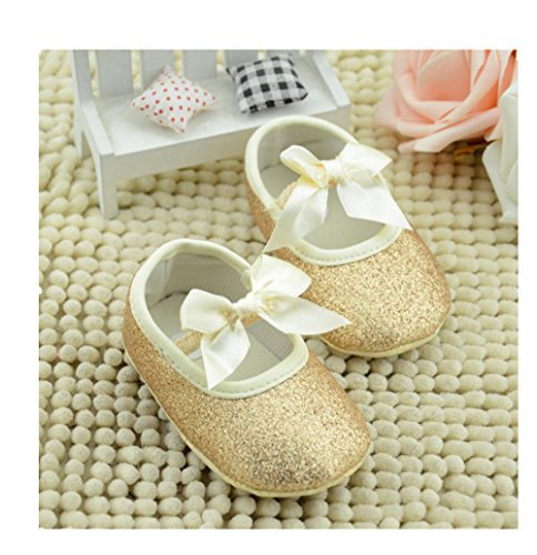 Ecosin Baby Girl Soft Sole Bowknot Bling Bling Shoes Prewalker Socks Sneakers (11/0-6months, Gold)
