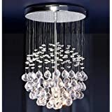 Chrome Ceiling Light with Suspended Clear Acrylic Droplets