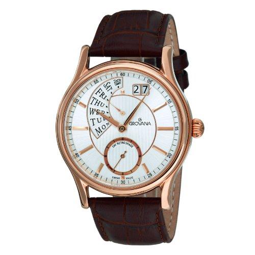 Grovana 1718,1562 - Reloj analógico de cuarzo para hombre, correa de cuero color marrón
