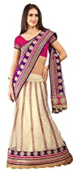 Jiya Fashion Women's Net Lehenga Choli (Beige and Purple)