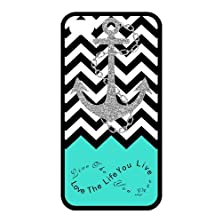"""buy Black And White Chevron Splicing Cyan Background """"Live The Life You Love"""" Black Stylish Cover Case & Dust Plug For Iphone 4 And 4S With High-Quality Plastic"""