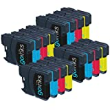 4 Sets of Compatible Brother LC985 Printer Ink Cartridges (16 Inks) - Black / Cyan / Magenta / Yellow for Brother DCP-J125, DCP-J140W, DCP-J315W, DCP-J515W, MFC-J265W, MFC-J410, MFC-J415W