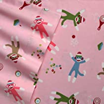 Home Classics Twin Size Heavyweight 5 oz (170-gram) 3 Piece Flannel Sheet Set with Deep Pockets Pink Sock Monkey