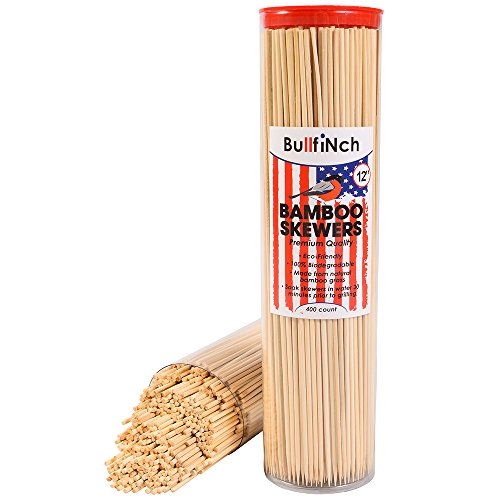 For Sale! Bamboo BBQ Roasting Skewers (400 Count) - 12 Inch Ecofriendly Wooden Sticks - Biodegradabl...