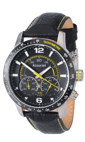 Accurist Men's Quartz Watch with Black Dial Chronograph Display and Black Leather Strap MS848B