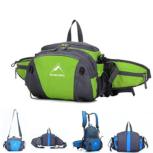 Hiking Waist Pack, MALEDEN Outdoor Water Resistant Lumbar Pack Bag with Water Bottle Holder and Shoulder Backpack for Camping Cycling Hunting and Travel Fanny Pack for Women Men (Purse Insert Holster compare prices)