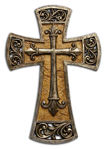 Decorative Resin Cross Tan Marble with Metallic Edges 8 X 12 Inches (Resin Wall Cross compare prices)