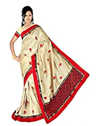 Nirvaan Tassar Silk Saree With Fancy Border And Embroidery Pallu And All Over Embroidery