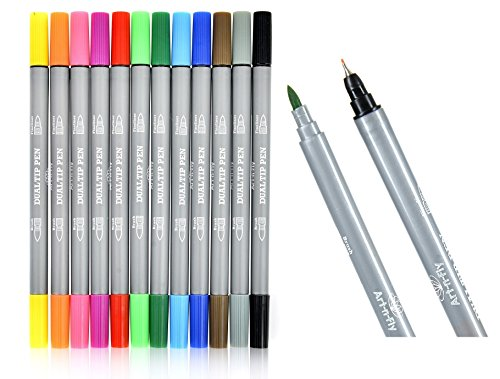 Dual Tip Fineliner Pens Brush Marker Set For Adult Coloring Books Drawing Sketching Writing Illustration (Comic Book Making compare prices)