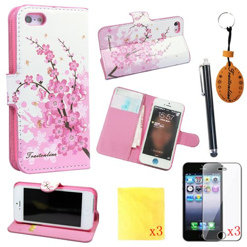 )8IN1 Pink Flower PU Leather Wallet Cases Protective Skin for iphone 5 iphone 5s Flip Folio Case Stand Holder+touch Screen Pen +3* Screen Protector +3* Cleaning Cloth