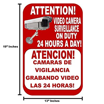 "Best Business Security Camera & Video Surveillance Sign for Buildings, Parking Lots and underground Parking Sign is in English and Spanish Durable Long Lasting sign 13x19 "" with FREE 1yr Warranty"