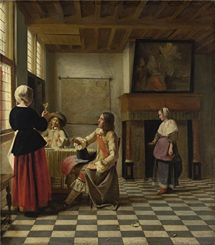 The Perfect Effect Canvas Of Oil Painting 'Pieter De Hooch A Woman Drinking With Two Men ' ,size: 30 X 34 Inch / 76 X 87 Cm ,this High Resolution Art Decorative Canvas Prints Is Fit For Living Room Decor And Home Decor And Gifts