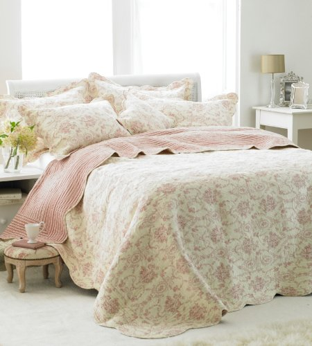 Etoille Quilted Bedspread, Cream/Pink, King