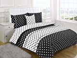 POLKA DOT BLACK SUPER KING Size 5pc Bed In A Bag Duvet Cover Bedding Set: 1 x Duvet Cover, 2x Pillowcases, 1 x Cushion Cover, 1 x Quilted Bed Runner