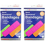 "120 Neon Adhesive Bandaid Waterproof Bandages Strip 3/4"" Kids Children First Aid"