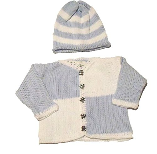 Knitted Blue Cotton White Chenille Trim Cardigan Hat Set For Ages 0-6Mo front-1031327