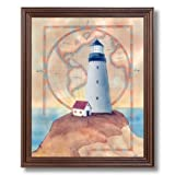 Ocean Lighthouse World Map # 1 Home Decor Wall Picture Cherry Framed Art Print