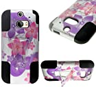 myLife White Tropical Hot Pink and Lavender Purple Flowers {Modern Design} Two Piece Neo Hybrid (Shockproof Kickstand) Case for the All-New HTC One M8 Android Smartphone - AKA, 2nd Gen HTC One (External Hard Fit Armor With Built in Kick Stand + Internal Soft Silicone Rubberized Flex Gel Full Body Bumper Guard)