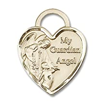 "Large Detailed Men's Solid 14K Gold Saint St. Guardian Angel Heart Medal 1 x 3/4"" 3302 Pendant Comes in a deluxe velvet box"