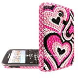 FOR SAMSUNG S3350 CHAT PINK BLACK SILVER HEARTS RHINESTONE DIAMOND HARD CASE CRYSTAL DIAMANTE BACK COVER