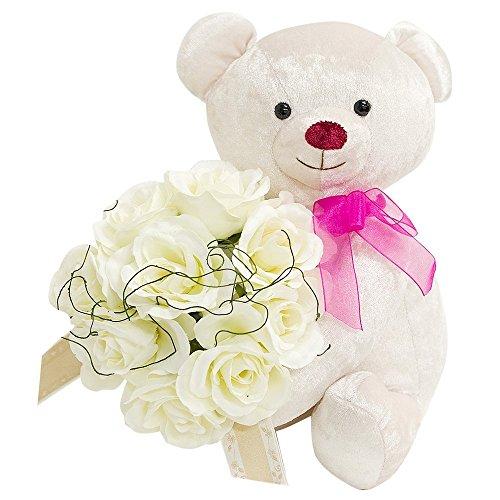 誕生日・記念日・発表会に贈る「くまが届ける、バラの花束」 誕生日プレゼントや還暦祝いにも 女性へ贈る花ギフト バラの花束 (ミルク(純白のべア&バラの花束))