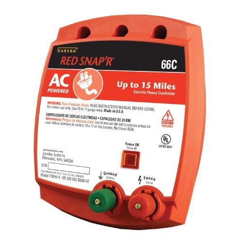 Zareba Red Snap'R 66C Ac Powered Solid State 15 Mile Fence Charger Outdoor/Garden/Yard Maintenance (Patio & Lawn Upkeep)