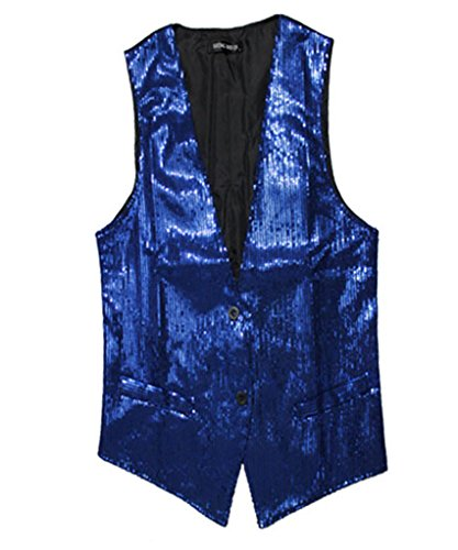Thiness Men's Sequins Dance Stage Cosplay Waiter Show Vest Waistcoat (Dance Costumes On Stage)