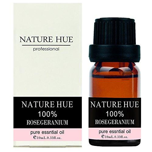 Nature Hue - Rose Geranium Essential Oil 10 ml, 100% Pure Therapeutic Grade, Undiluted