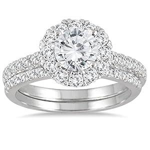 IGI Certified 2 Carat TW Diamond Halo Bridal Set in 14K White Gold (J-K Color, I2-I3 Clarity)