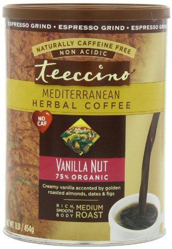 Teeccino Herbal Coffee, Vanilla Nut, Caffeine-Free, Espresso Grind, 16-Ounce