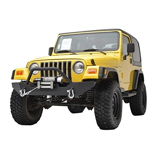 E-Autogrilles Jeep Wrangler TJ Black Textured Front Bumper with TJ Winch Plate