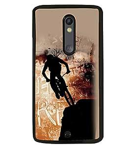 Fuson Premium Rider Metal Printed with Hard Plastic Back Case Cover for Motorola Moto X Style