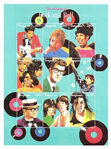 the-history-of-rock-and-roll-large-stamp-sheet-chuck-berry-bob-dylan-aretha-franklin-buddy-holly-bru