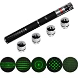 QQ-Tech® 5mW 5in1 High Power Green Laser Pointer Pen with 5 Star Constellation Projection Caps 5 Patterns of Stage light Infinite Pleasures