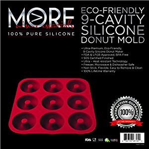 Ultra-Premium, Eco-Friendly; BPA Free X-Large 9 Cavity Silicone Donut Pan, Non-stick; Heavy Duty Commercial Grade Doughnutnut Mold-100% Silicone by More Cuisine Essentials BG -1586 - EZ, Burgundy Wine