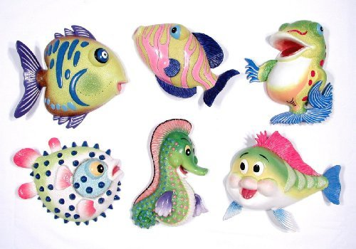 Set Of 6 Cartoon Tropical Fish And Seahorse Wall Decor - Beach Nautical Tropical Child'S Room Decor front-617792