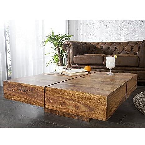 Mesa de centro BOLTO, de madera maciza de Sheesham, 80 x 30 x 80 cm