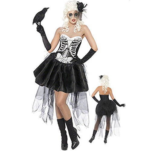 Geben Women's Black Skeleton Print Halloween Mini Skirt Skeleton Costume Corset