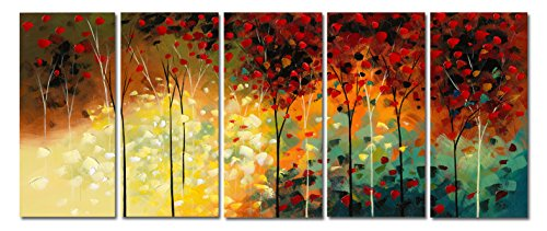 Wieco Art - In The Garden Of Eden 5 panels Stretched and Framed Artwork Landscape oil paintings on Canvas Art for Wall Decor 100% hand-painted Abstact Oil Painting Modern Canvas Wall Art for Home Decor 5 pcs/set I