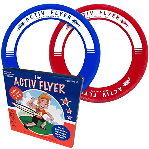 Best Kids Frisbee Ring 2 Pack: Perfect Birthday Gift and Christmas Present for Boys and Girls. Cool Outdoor Family Fun at Pool Beach School Playground Park Backyard BBQ - Ultralight Design Does Not Hurt Fingers - Activ Flyers are Made in the USA
