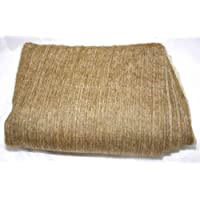 Super Soft 100% Alpaca Wool Reversible Throw Blanket Soft Brown Earth Tone Cream Cross Weave