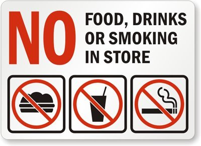 No Food, Drinks, Or Smoking In Store (with Graphic) – Laminated Vinyl Labels, 14″ x 10″