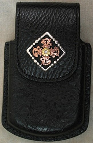 Grain Leather Cell Phone Case - Black with Diamond Concho