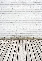 Yelewen 5x7ft White Brick Wall & Wood Floor Thin Vinyl Customized Digital Printed Photography Backdrop Prop Photo Background