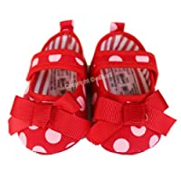 Soft Sole Toddler Baby Girls Butterfly Bow Princess Sandals Polka Dot Reds Shoes (3-6 months)