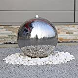 Luxus Edelstahl Springbrunnen ESB5 poliert mit 48cm großer Edelstahlkugel Kugel Brunnen für Garten mit LED Beleuchtung